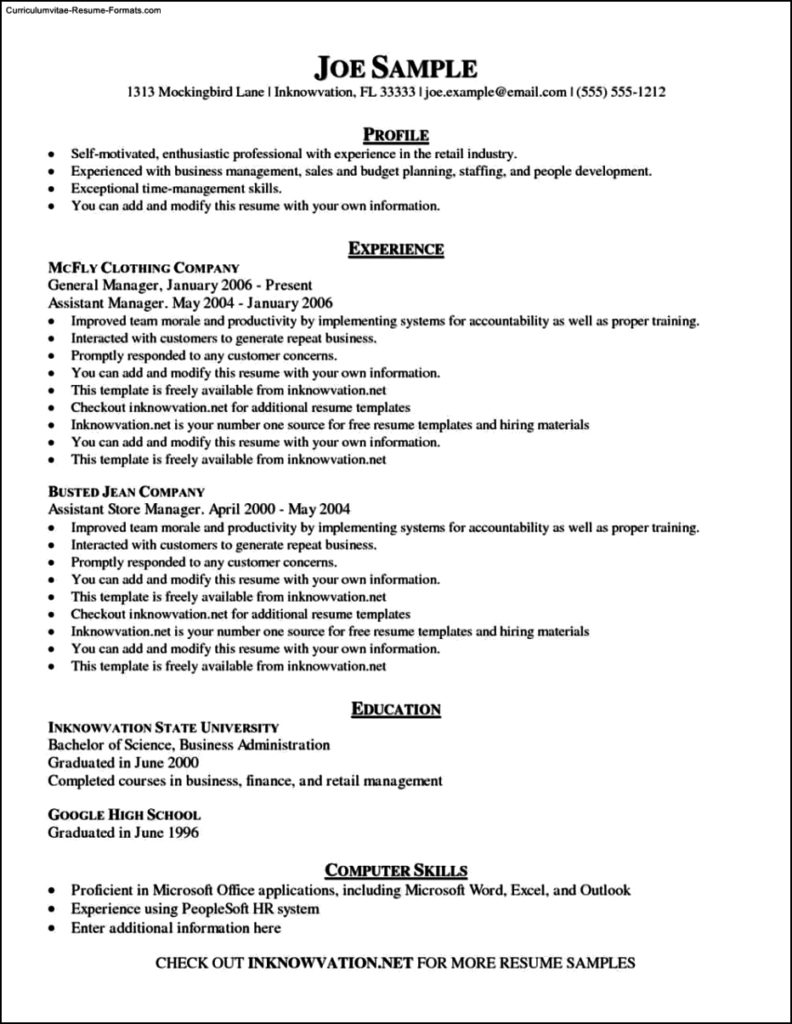 Samples Of Resume Templates