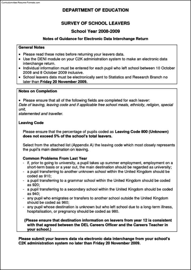 School Leaver Resume Template