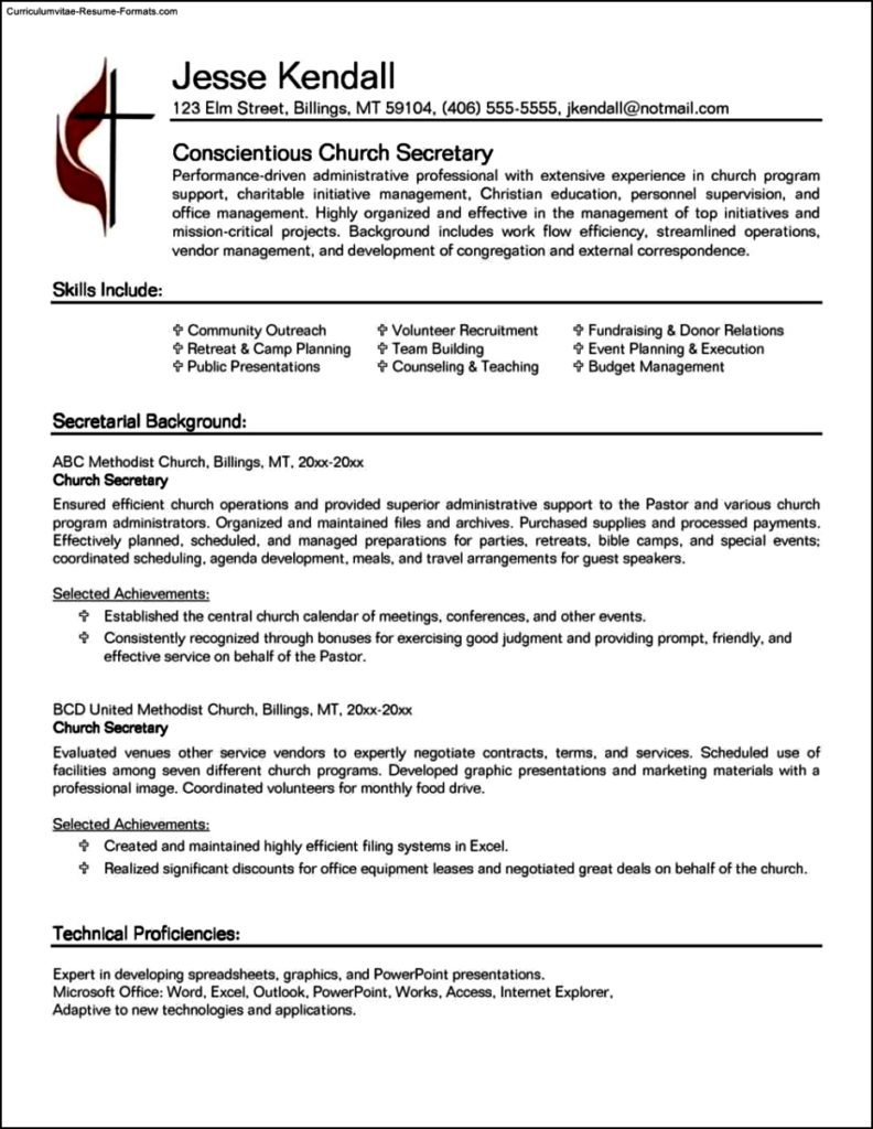 Secretarial Resume Template