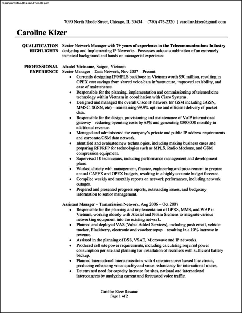 Senior Manager Resume Template Free Samples Examples
