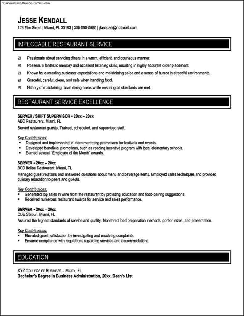 Server Resume Template