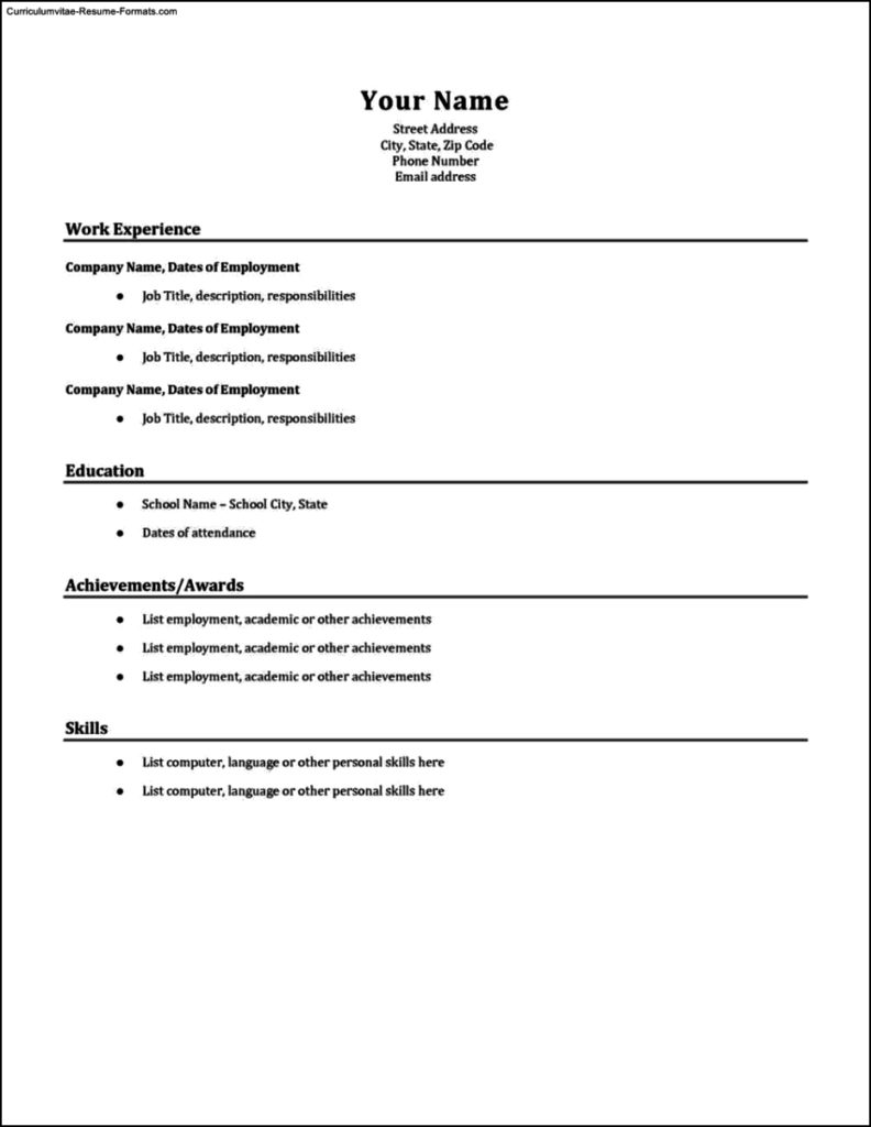 Simple Resumes Templates