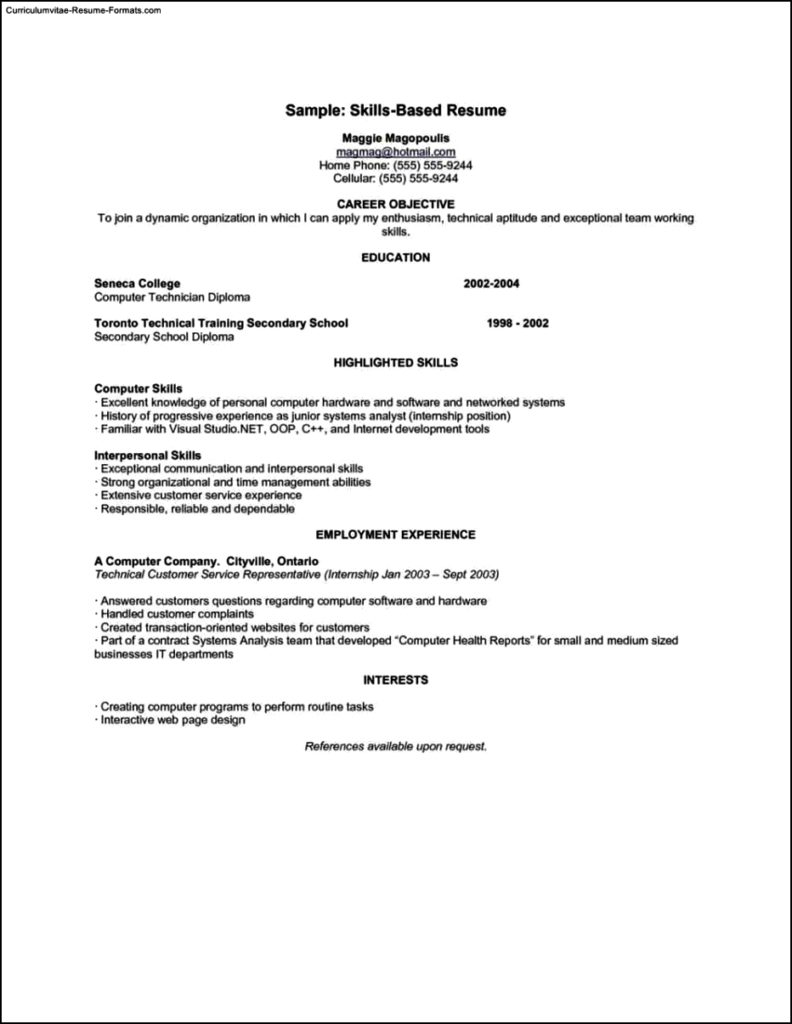 Skills Based Resume Template