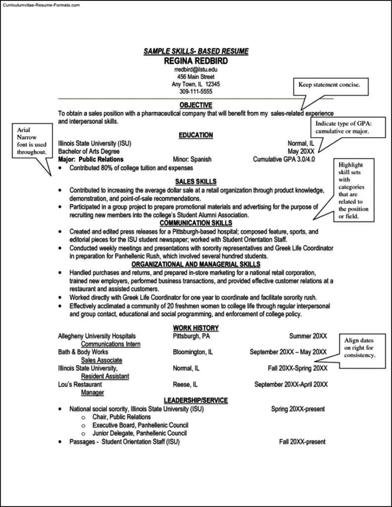 Skills Based Resume Template Word