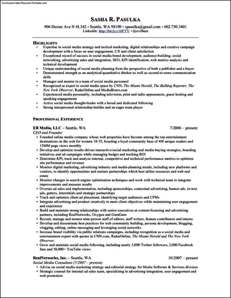 social media resume template