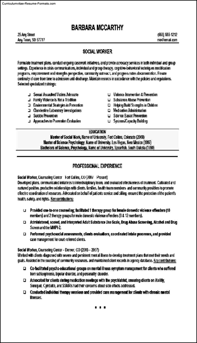 Social Worker Resume Templates Free Samples Examples