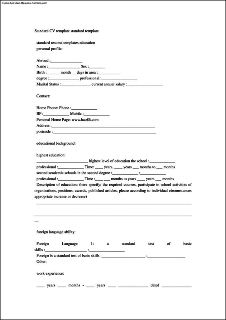 Standard Resume Format Template