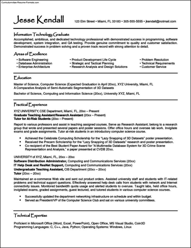 Student Template Resume