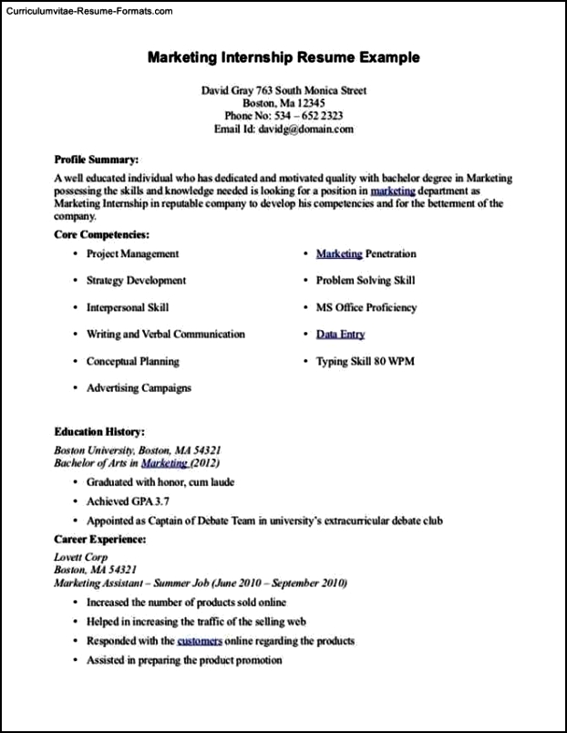 Summer internship resume objective