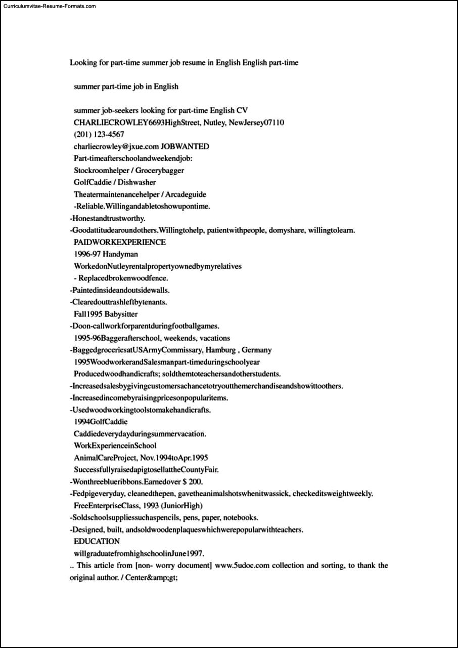 summer job resume template resume samples for summer jobs for