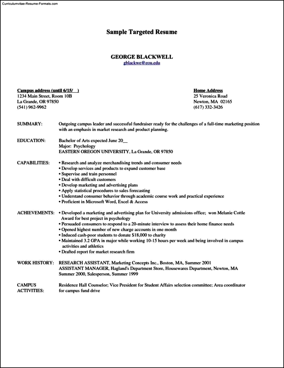 Targeted Resume Template Free Samples Examples