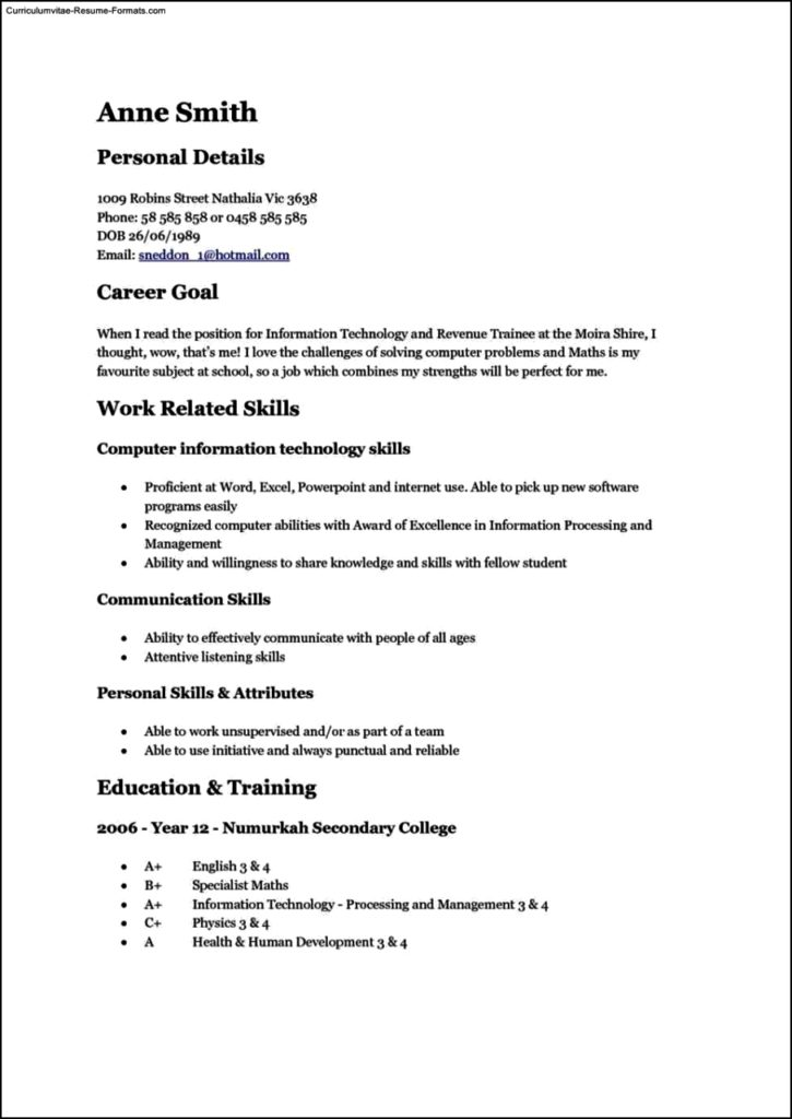 Teen Resume Template Free Samples Examples Format