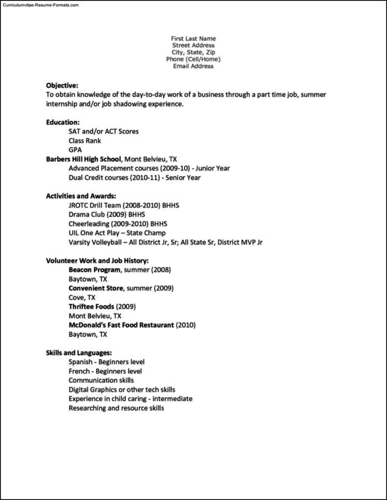 Teen Resume Templates
