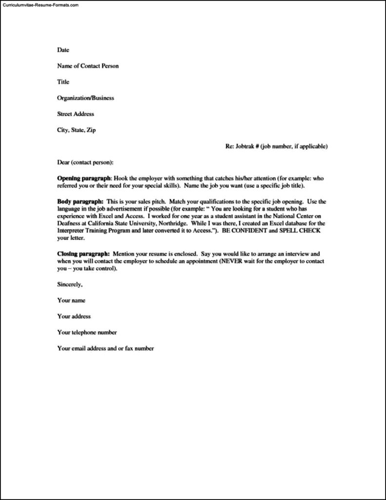 Template For A Cover Letter For A Resume