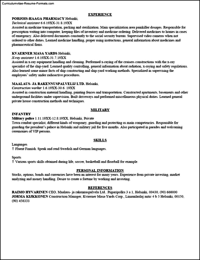 Template For Writing A Resume