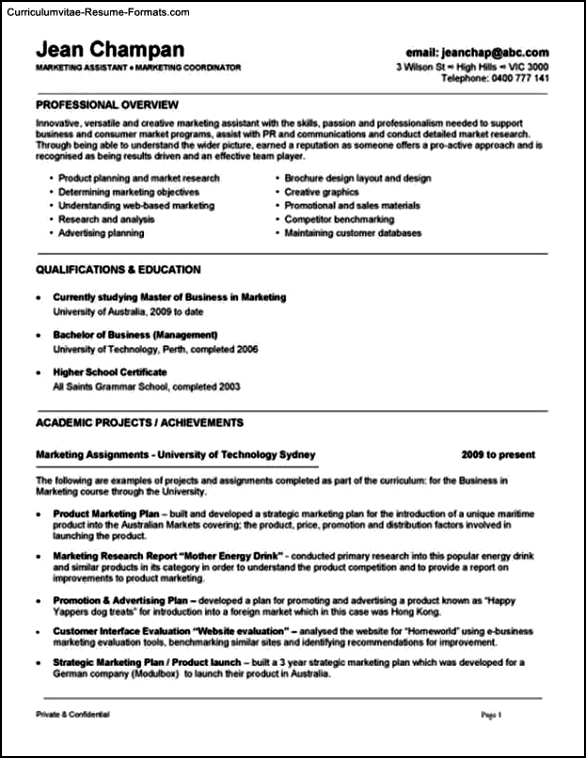 Template Resume Australia