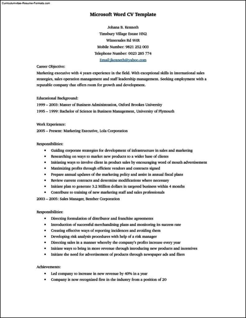 Template Word Resume