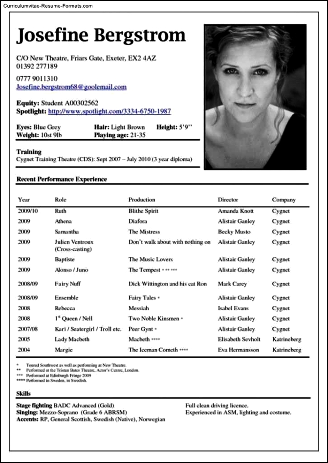 Theatre Resume Template Word