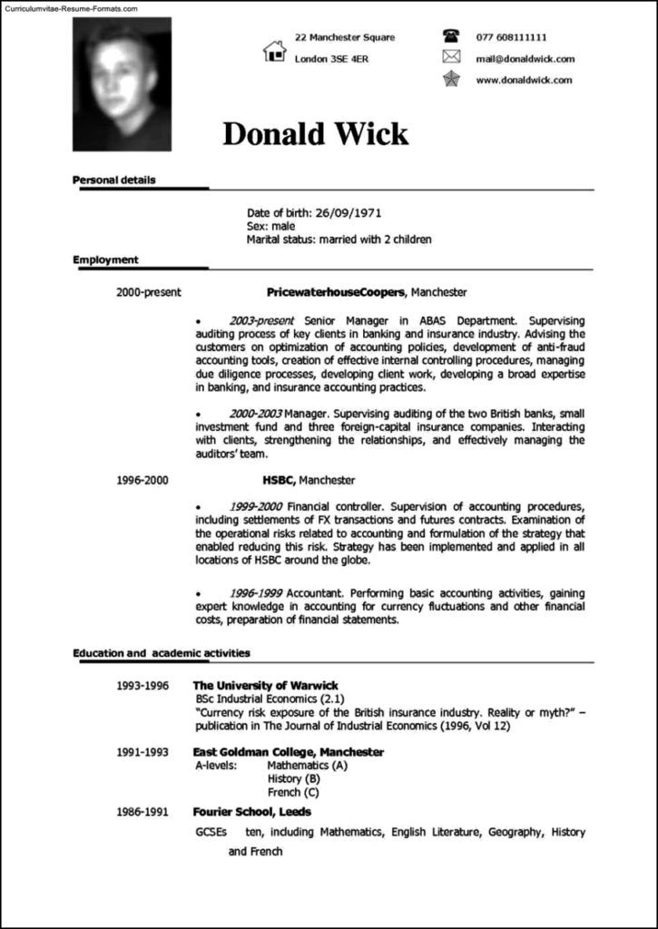 Uk Resume Template