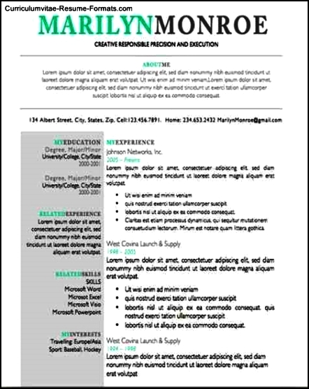 Unique Resumes Templates Free