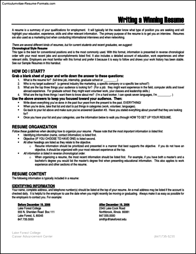 Winning Resumes Templates