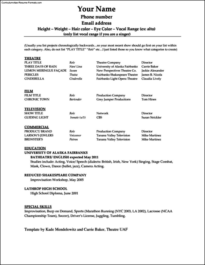 Word Resume Template 2010