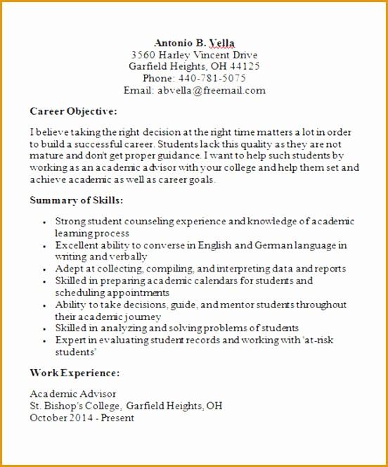 Sample Academic Advisor Curriculum Vitae on physician faculty, for biology faculty position,