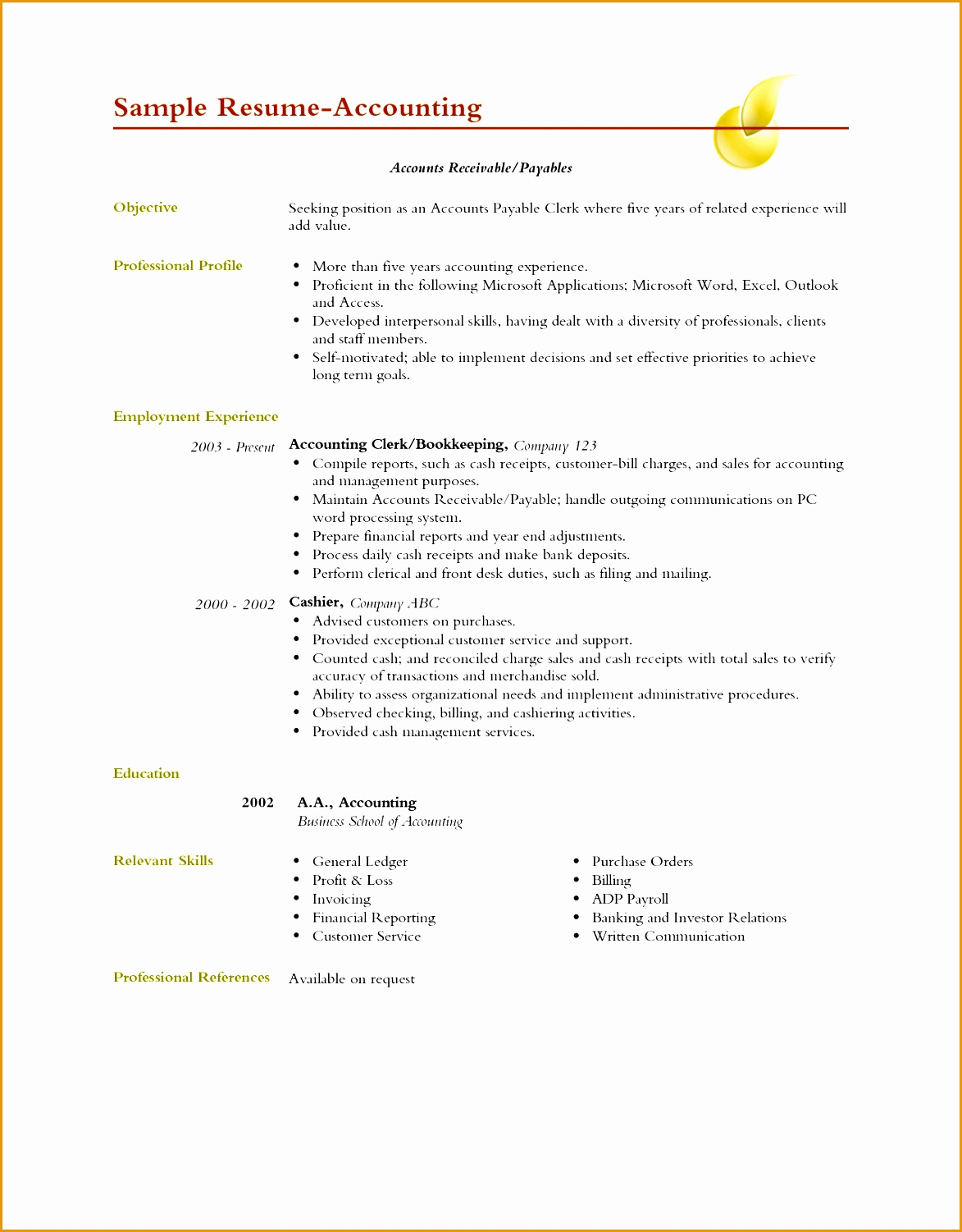 others professional profile accountant clerk resume with prepare financial reports and year end adjustments