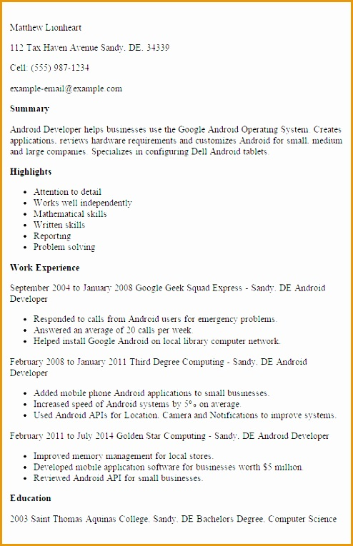 Resume Templates Android Developer765494