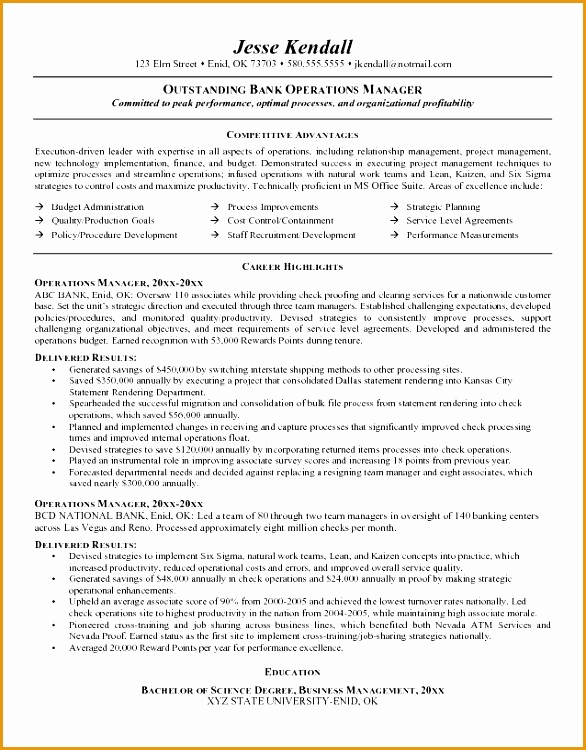 6 banking executive manager resume template