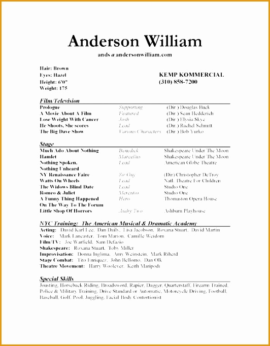 Resume Templates For Actors Acting Resume Template How To Write resume template682532