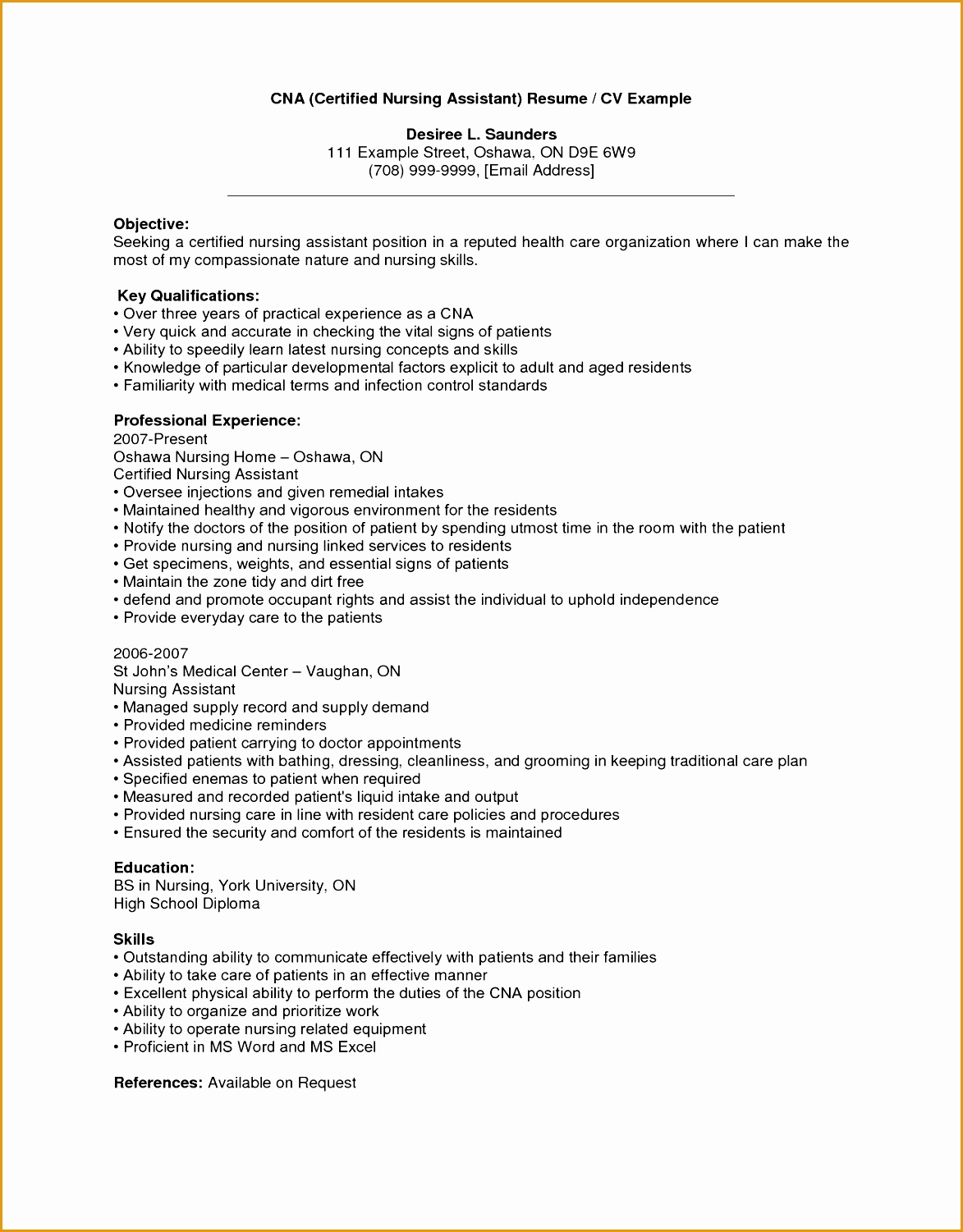 nursing assistant objective for resume examples cna cover letter example with key qualifications and professional experience