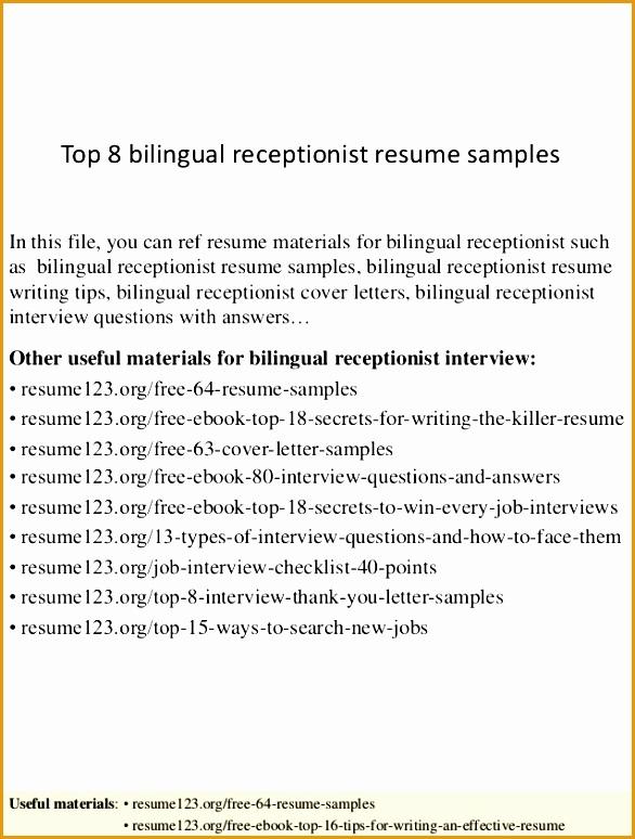 top 8 bilingual receptionist resume samples 1 638 cb=