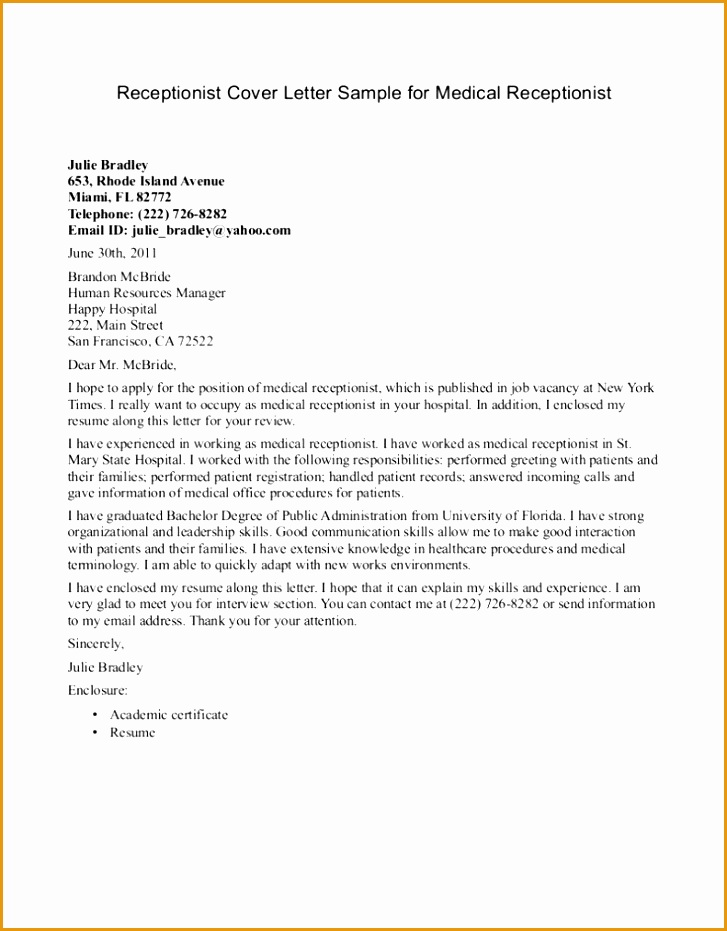 Receptionist Cover Letter Example 791x1024
