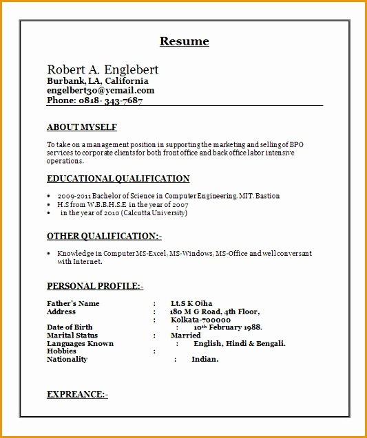 sample resume template free1637533