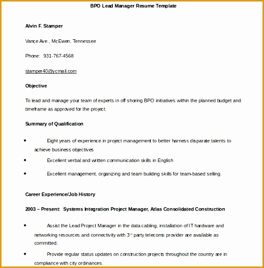 7 bpo resume template free samples examples format resume - Bpo Resume Sample