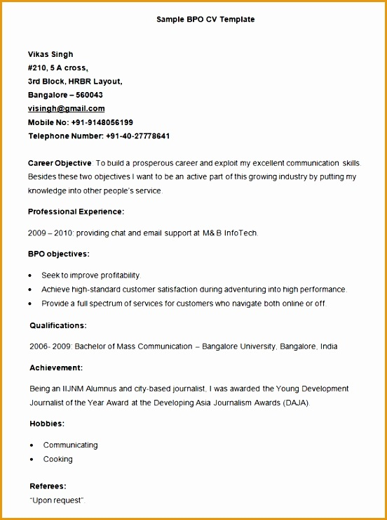 Sample BPO Resume Template740552