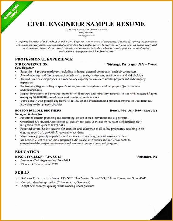 Civil Engineer Resume Sample 2015