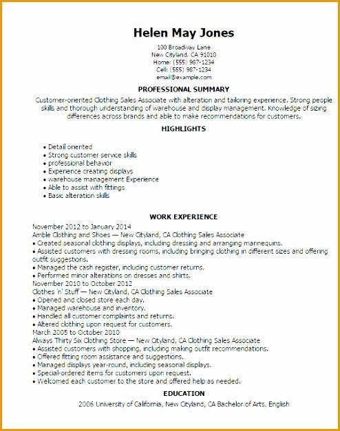 Resume Templates Clothing Sales Associate627494