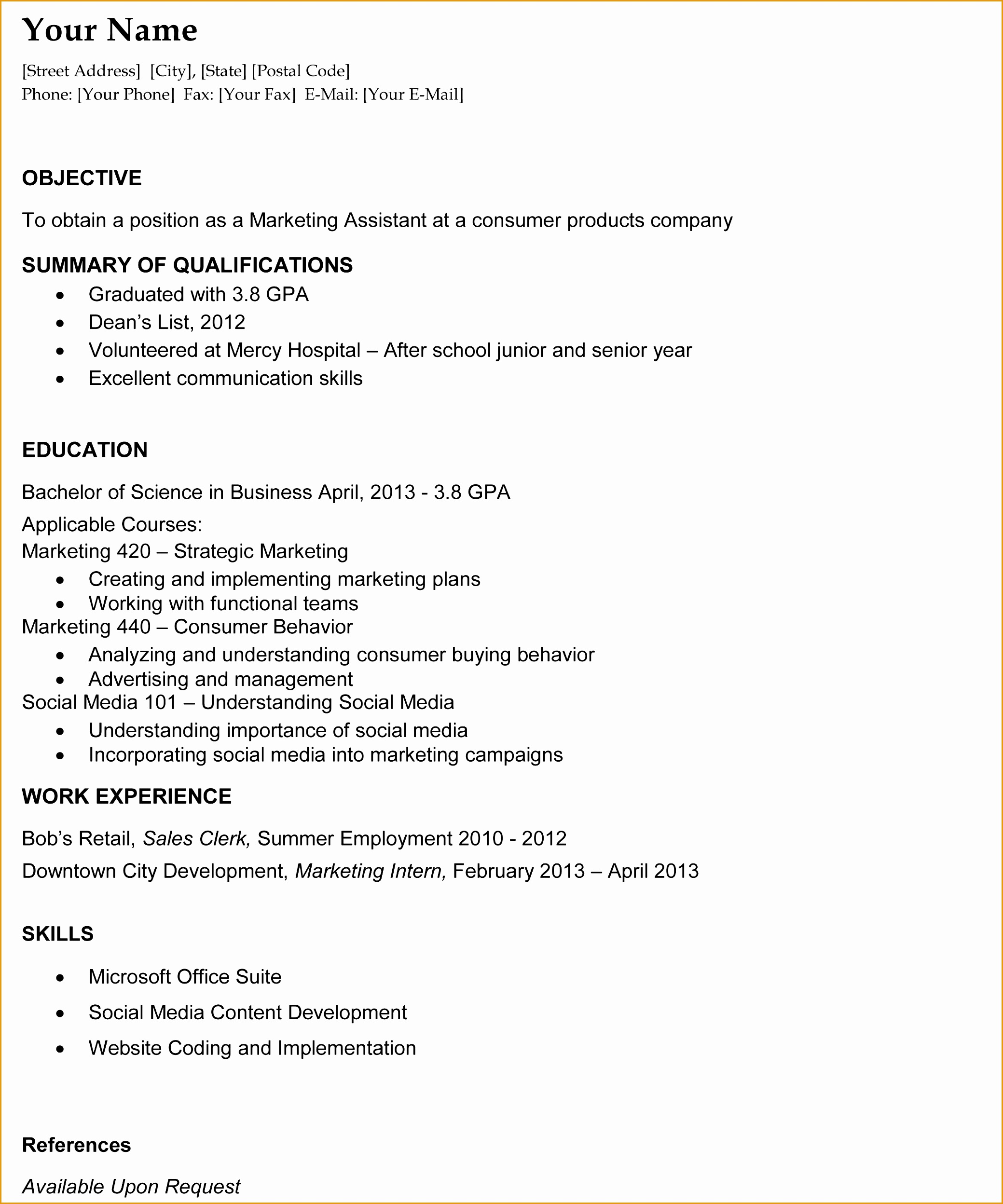 Graduate Resume Sample Resume Template For College Graduate Sample Resume24962079