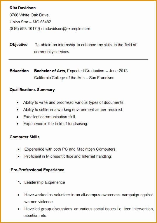 College Student Resume Template764538