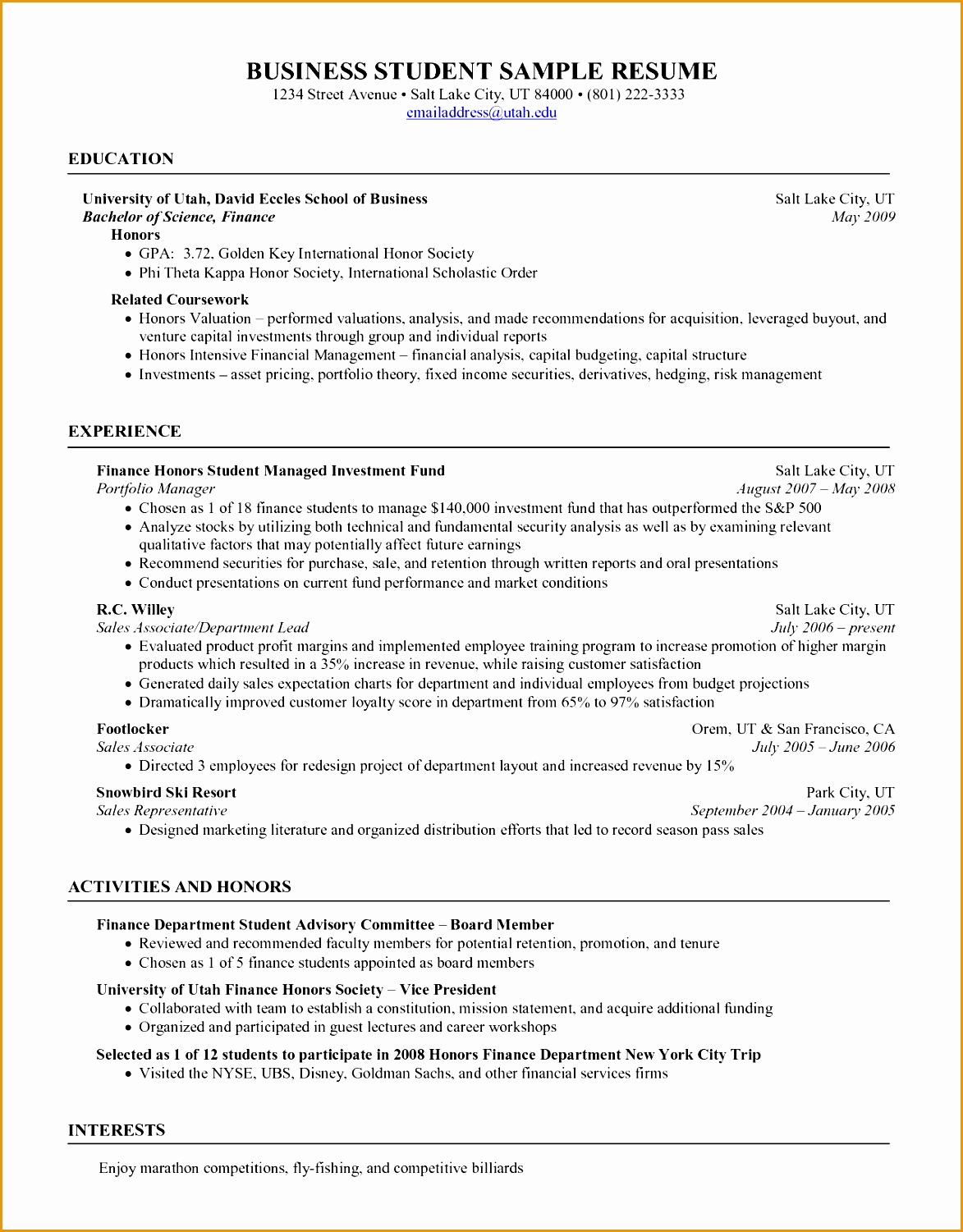 resume objective examples for college students samples of resumes