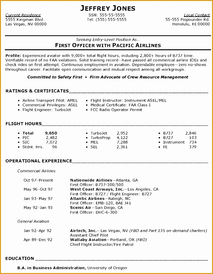 5 commercial airlines pilot resume  free samples