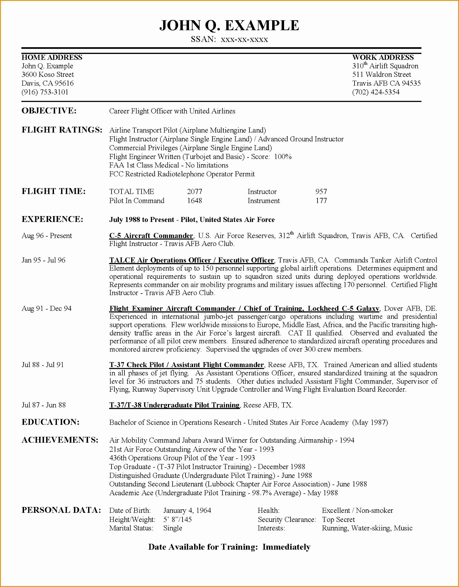airline pilot hiring example resume