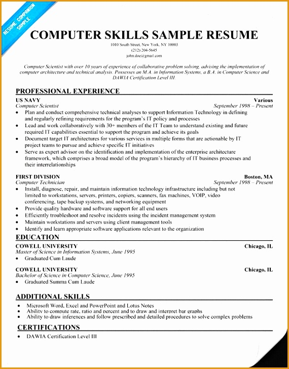 puter Proficiency Resume Sample