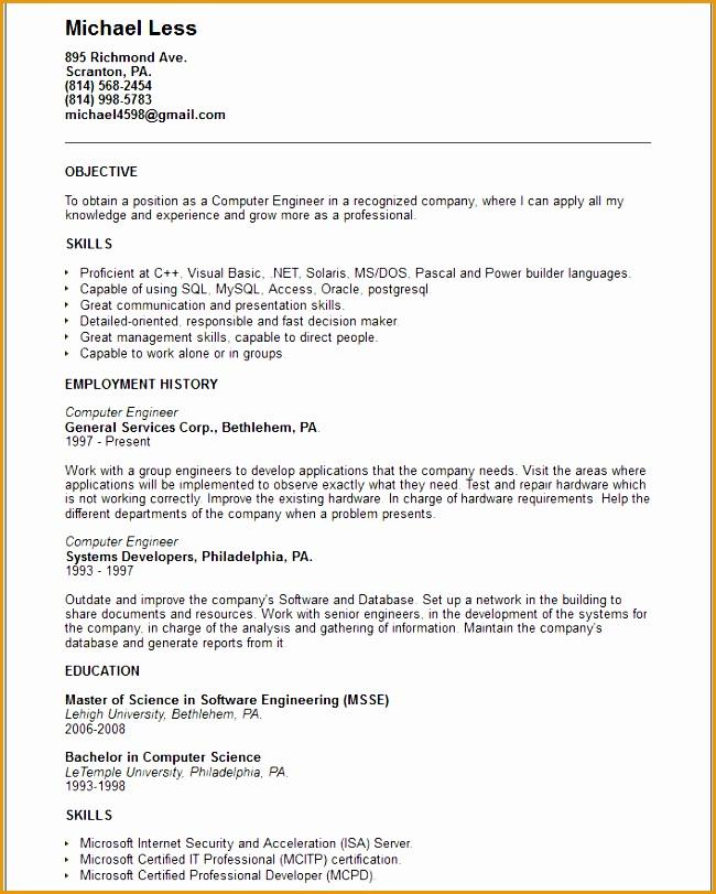 puter engineer resume example