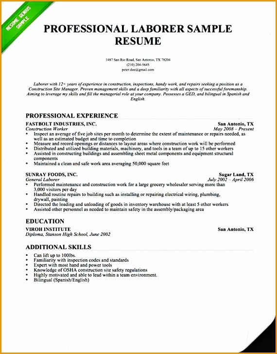 6 construction worker resume template  free samples