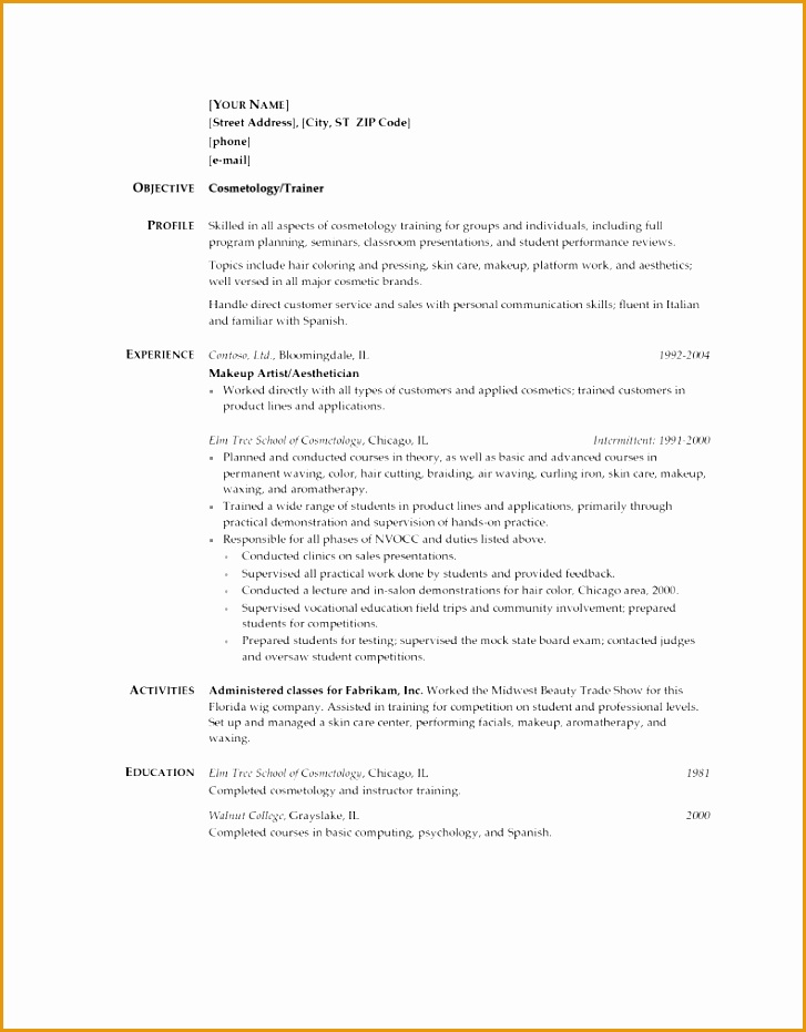 nice ideas cosmetology resume samples 2 for a cosmetologist
