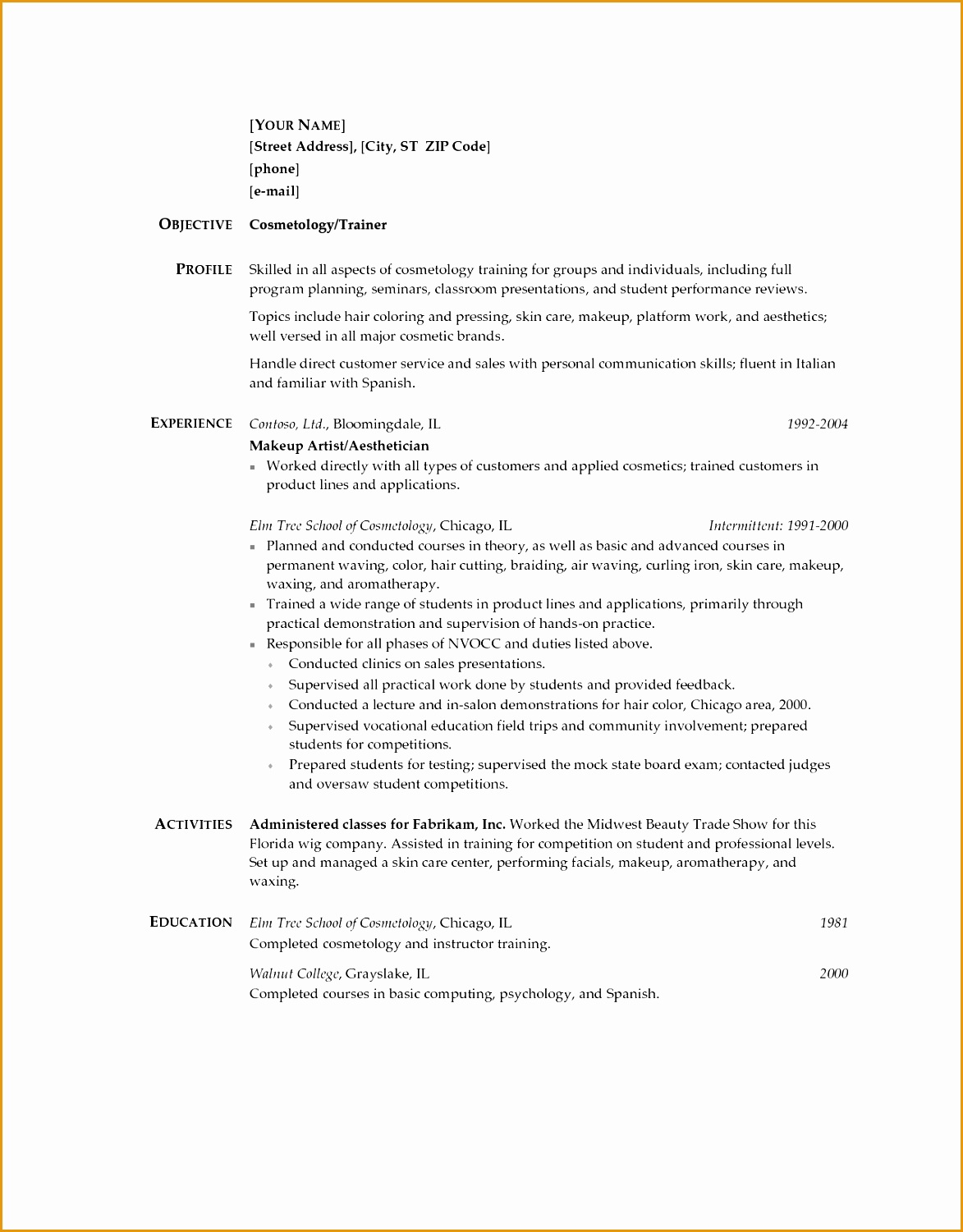 cosmetology resumes sample resume for cosmetologist cosmetologist resume samples template and tips onlineresume resume template student Cosmetologist Resume Templates