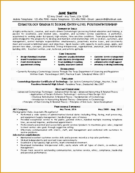 resume example exbc27 cosmetology